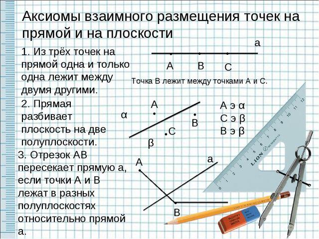 Аксиомы взаимного размещения точек на прямой и на плоскости 1. Из трёх точек...