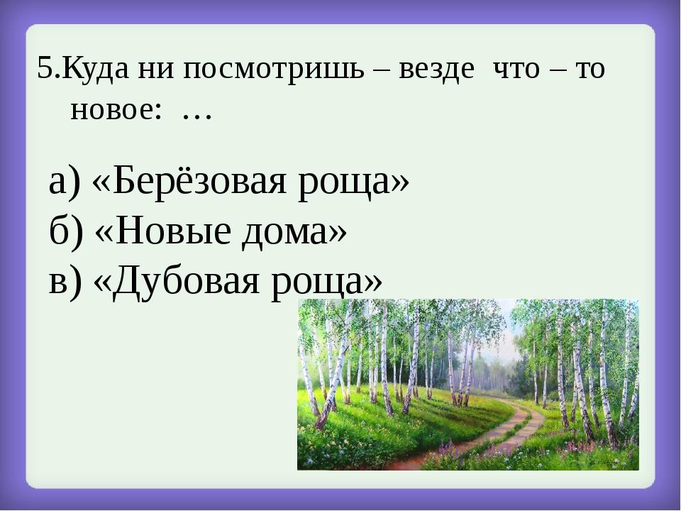 5.Куда ни посмотришь – везде что – то новое: … а) «Берёзовая роща» б) «Новые...