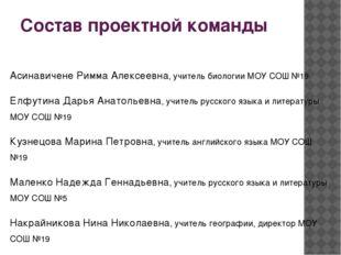Состав проектной команды Асинавичене Римма Алексеевна, учитель биологии МОУ С