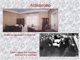 Астахово Комната, где умер Л.Н.Толстой Гроб с телом Л.Н.Толстого выносят его