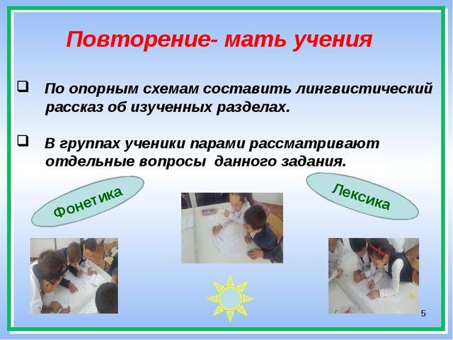 * Повторение- мать учения По опорным схемам составить лингвистический рассказ...