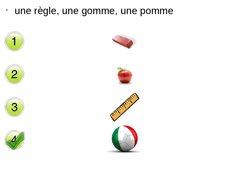 une règle, une gomme, une pomme