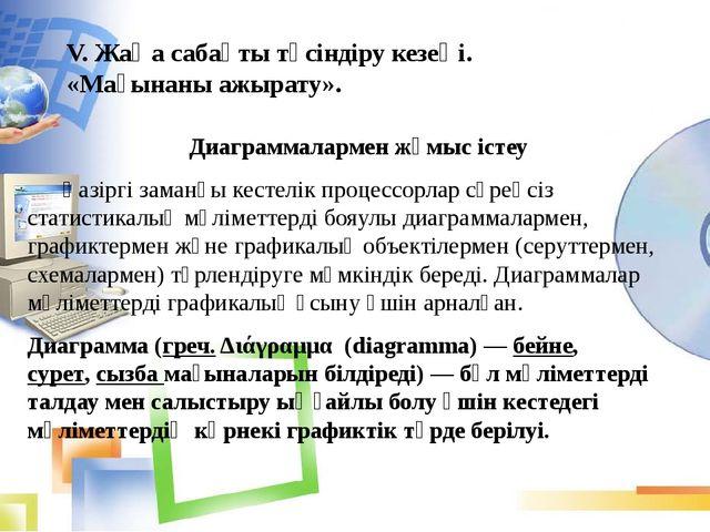 V. Жаңа сабақты түсіндіру кезеңі. «Мағынаны ажырату». Диаграммалармен жұмыс і...