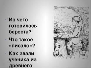 Из чего готовилась береста? Что такое «писало»? Как звали ученика из древнег