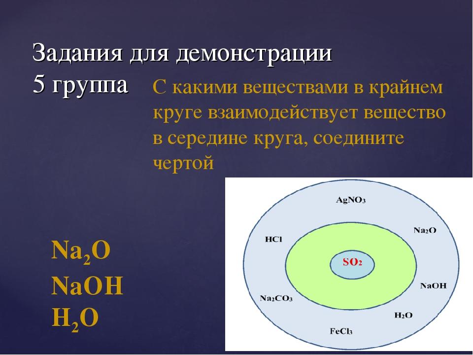 С какими веществами в крайнем круге взаимодействует вещество в середине круга...