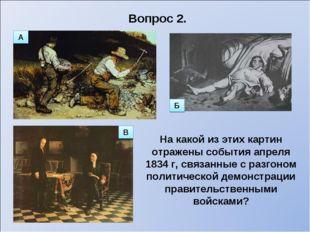 Вопрос 2. На какой из этих картин отражены события апреля 1834 г, связанные с