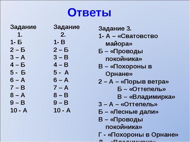 Ответы Задание 1. 1- Б 2 – Б 3 – А 4 – Б 5 - Б 6 – А 7 – В 8 – А 9 – В 10 - А...