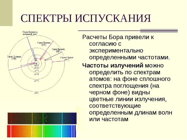 СПЕКТРЫ ИСПУСКАНИЯ Расчеты Бора привели к согласию с экспериментально определ...