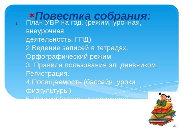 План УВР на год. (режим, урочная, внеурочная деятельность, ГПД) 2.Ведение зап...