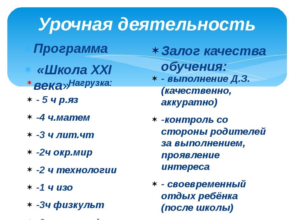 Урочная деятельность Программа «Школа XXI века» Нагрузка: - 5 ч р.яз -4 ч.мат...