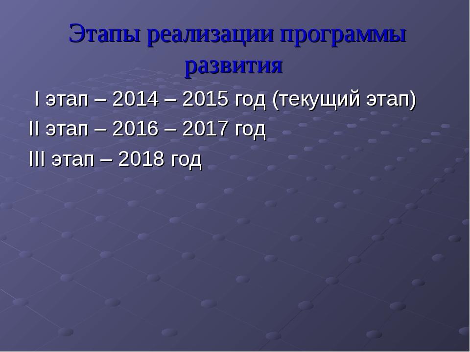 Этапы реализации программы развития I этап – 2014 – 2015 год (текущий этап) I...