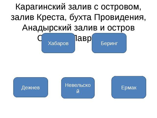 Карагинский залив с островом, залив Креста, бухта Провидения, Анадырский зали...