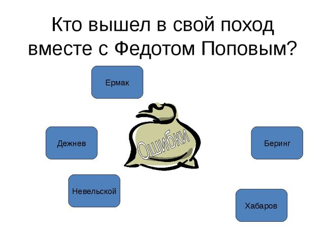 Кто вышел в свой поход вместе с Федотом Поповым? Ермак Невельской Дежнев Бери...