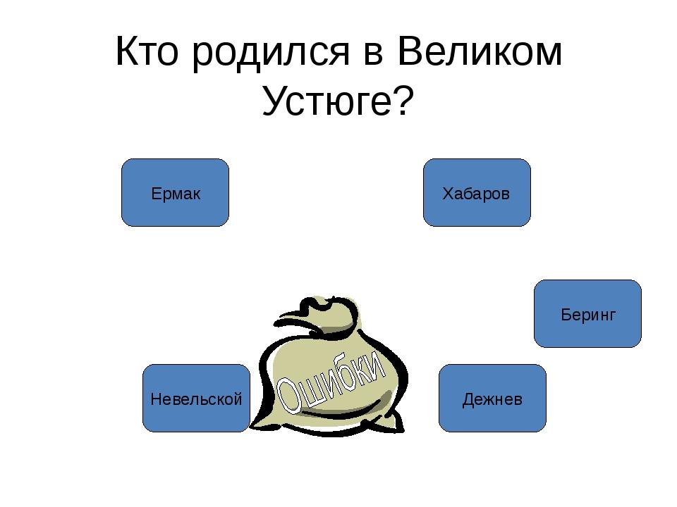 Кто родился в Великом Устюге? Ермак Дежнев Беринг Невельской Хабаров