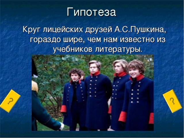 Гипотеза Круг лицейских друзей А.С.Пушкина, гораздо шире, чем нам известно из...