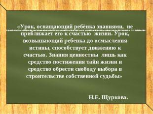 «Урок, оснащающий ребёнка знаниями, не приближает его к счастью жизни. Урок,