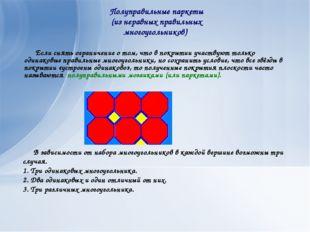 В зависимости от набора многоугольников в каждой вершине возможны три случая