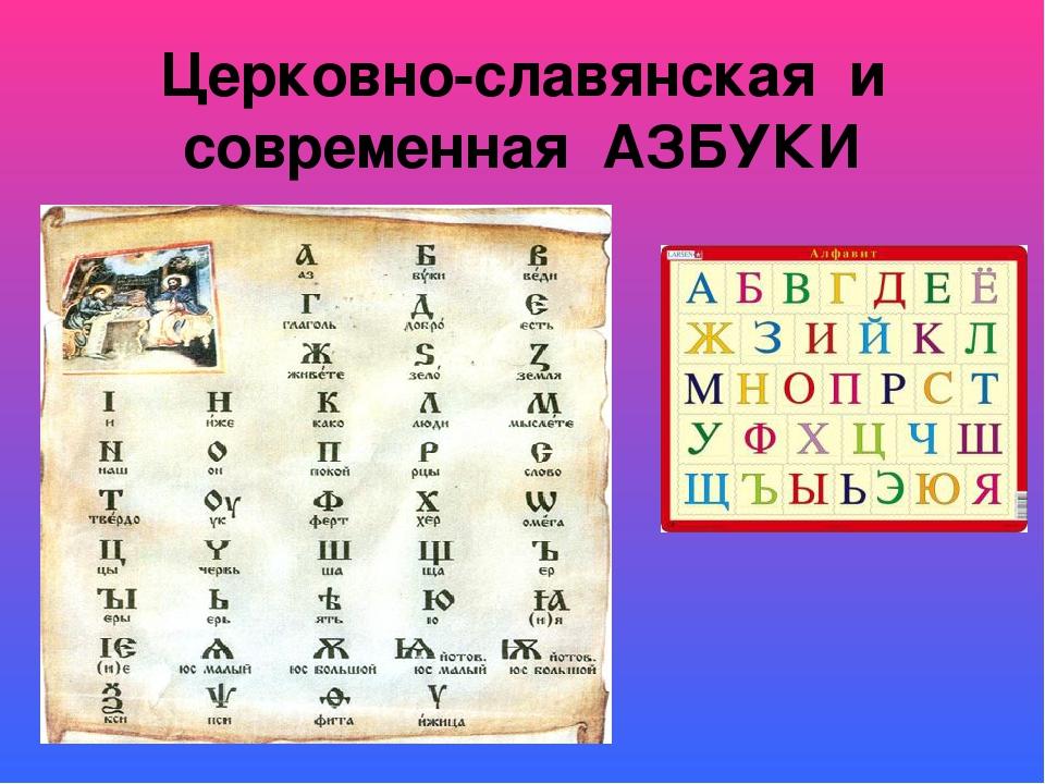 Церковно-славянская и современная АЗБУКИ