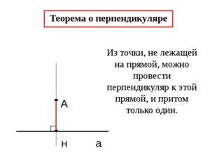 А н а Теорема о перпендикуляре Из точки, не лежащей на прямой, можно провест