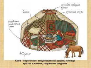 Юрта - Переносное, конусообразнойформы жилище крытое кошмами, звериными шку
