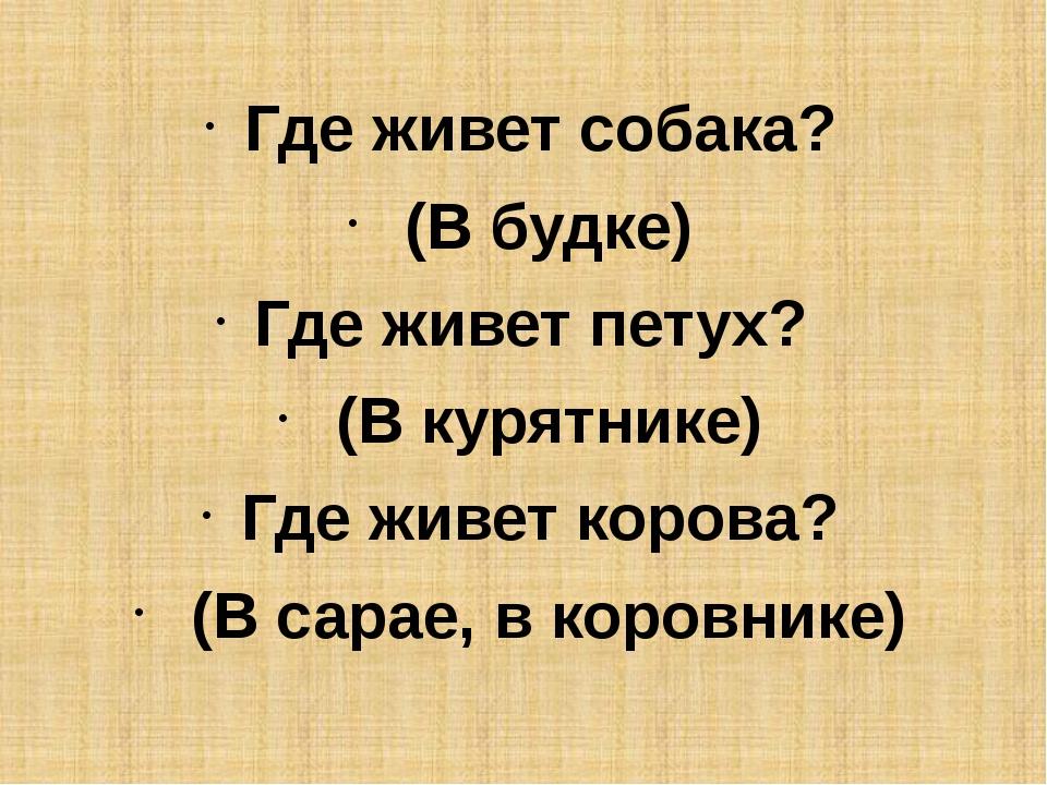 Где живет собака? (В будке) Где живет петух? (В курятнике) Где живет коров...