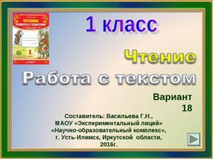 Вариант 18 Составитель: Васильева Г.Н., МАОУ «Экспериментальный лицей» «Научн