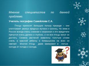 Мнение специалистов по данной проблеме. Учитель географии Самойлова С.А. Птиц