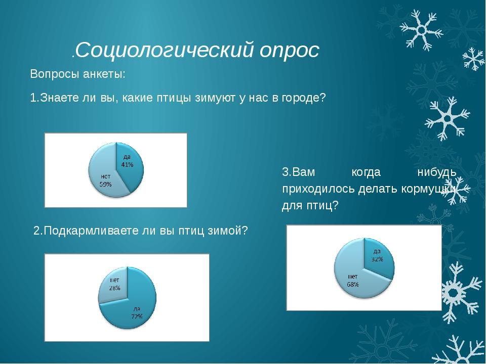 Вопросы анкеты: 1.Знаете ли вы, какие птицы зимуют у нас в городе? 2.Подкармл...