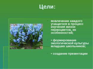 Цели: вовлечение каждого учащегося в процесс изучения жизни первоцветов, их о