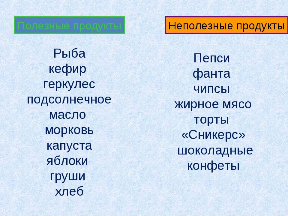 Полезные продукты Неполезные продукты Рыба кефир геркулес подсолнечное масло...