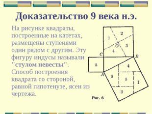 Доказательство 9 века н.э. На рисунке квадраты, построенные на катетах, разме