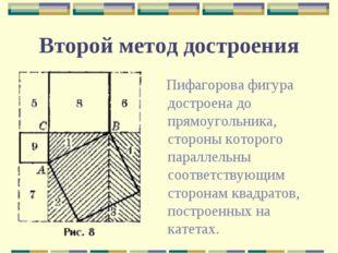 Второй метод достроения Пифагорова фигура достроена до прямоугольника, сторон