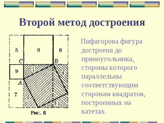 Второй метод достроения Пифагорова фигура достроена до прямоугольника, сторон...