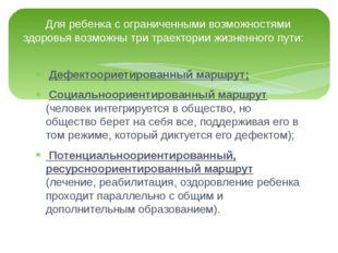Дефектоориетированный маршрут; Социальноориентированный маршрут (человек инт