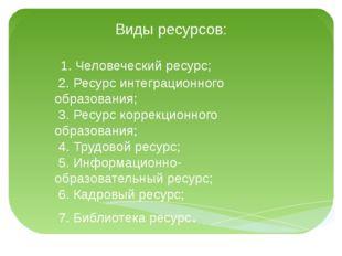 Виды ресурсов: 1. Человеческий ресурс; 2. Ресурс интеграционного образования;