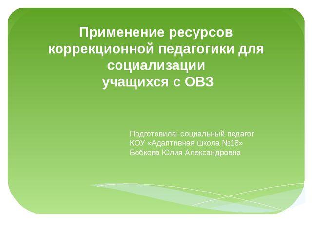 Применение ресурсов коррекционной педагогики для социализации учащихся с ОВЗ...