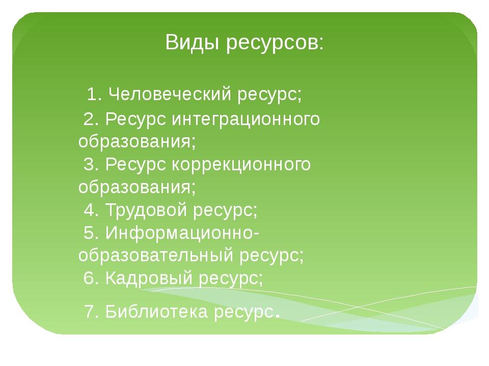 Виды ресурсов: 1. Человеческий ресурс; 2. Ресурс интеграционного образования;...