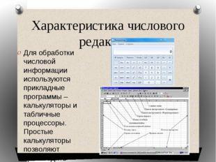 Характеристика числового редактора Для обработки числовой информации использу