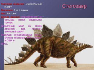 Стегозавр Значение названия: «Кровельный ящер» Величина: 9 м в длину Вес: 6-8