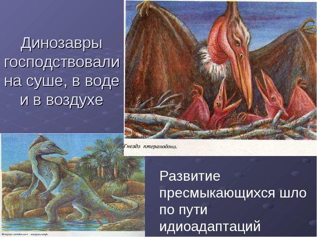 Динозавры господствовали на суше, в воде и в воздухе Развитие пресмыкающихся...