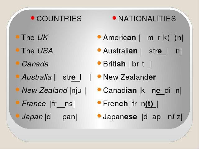 COUNTRIES The UK The USA Canada Australia  ɒˈstreɪlɪə  New Zealand  njuː  Fra...