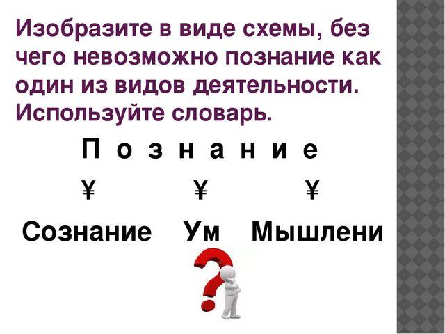 Изобразите в виде схемы, без чего невозможно познание как один из видов деяте...
