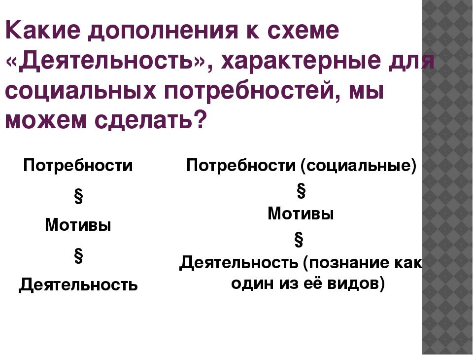 Какие дополнения к схеме «Деятельность», характерные для социальных потребнос...