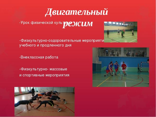 Двигательный режим -Урок физической культуры -Физкультурно-оздоровительные ме...