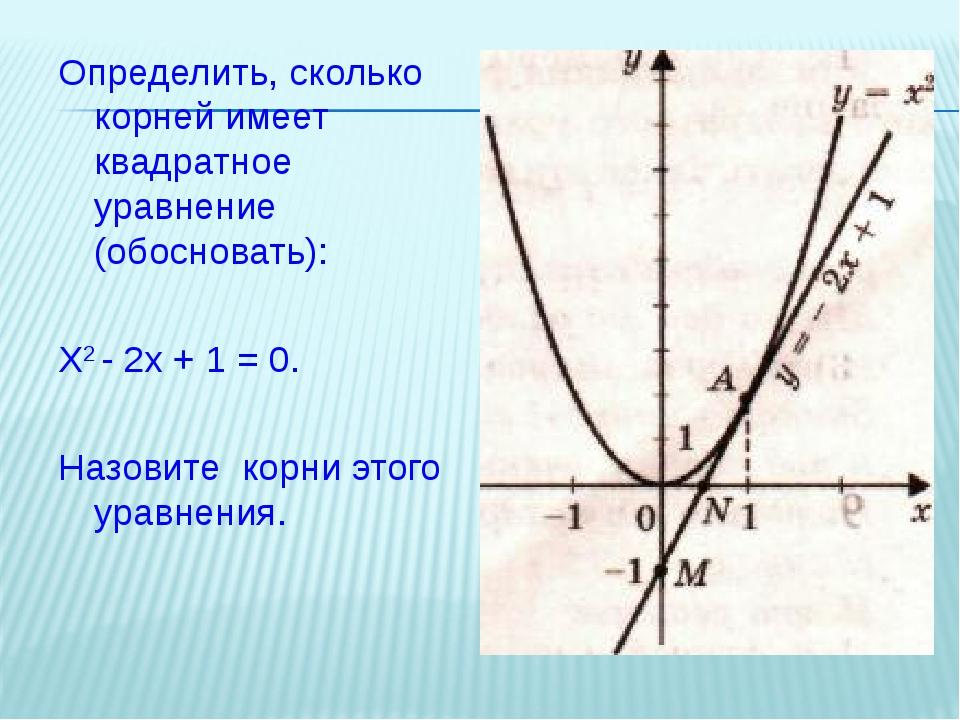Определить, сколько корней имеет квадратное уравнение (обосновать): Х2 - 2х +...