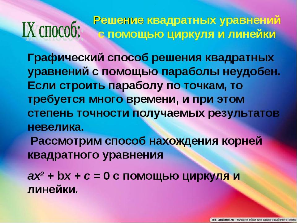 Решение квадратных уравнений с помощью циркуля и линейки Графический способ р...