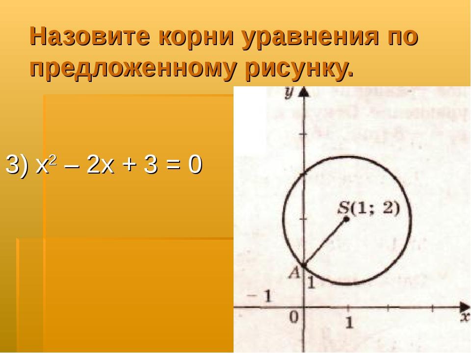Назовите корни уравнения по предложенному рисунку. 3) х2 – 2х + 3 = 0