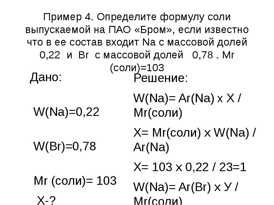 Пример 4. Определите формулу соли выпускаемой на ПАО «Бром», если известно чт...