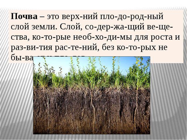 Почва –это верхний плодородный слой земли. Слой, содержащий вещества...
