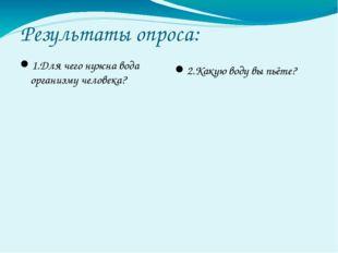 Результаты опроса: 1.Для чего нужна вода организму человека? 2.Какую воду вы